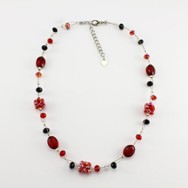 SWN0008RE - OLIVIA - Red Glass Crystal Necklace