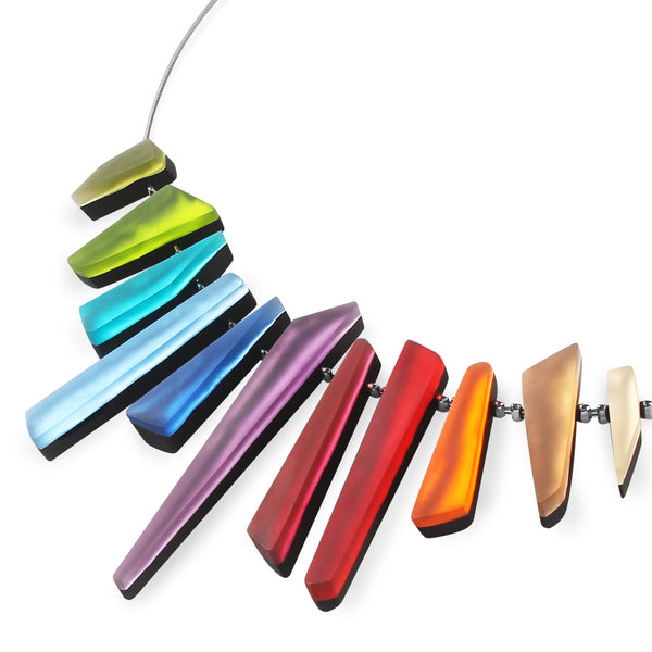 Multi-Coloured Resin Necklace - Matt Finish