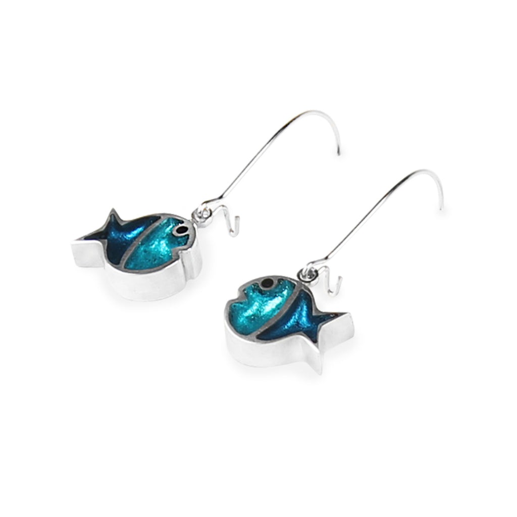 Blue/Turquoise Coloured Fish Resin Earrings