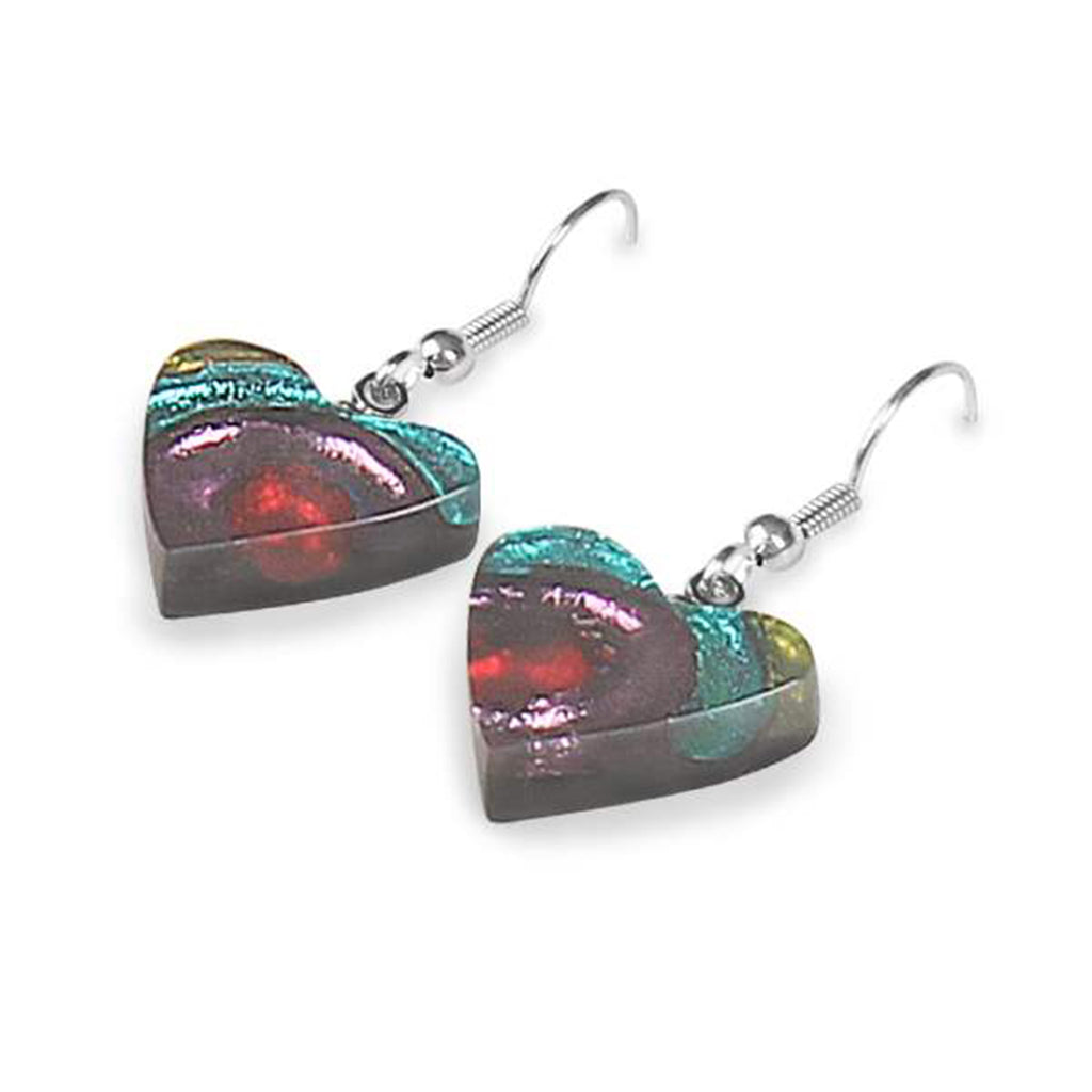 Rainbow Coloured Heart Resin Earrings