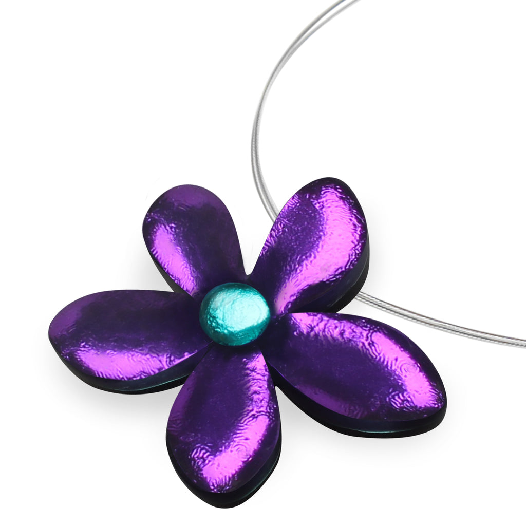 Purple Flower Resin Necklace