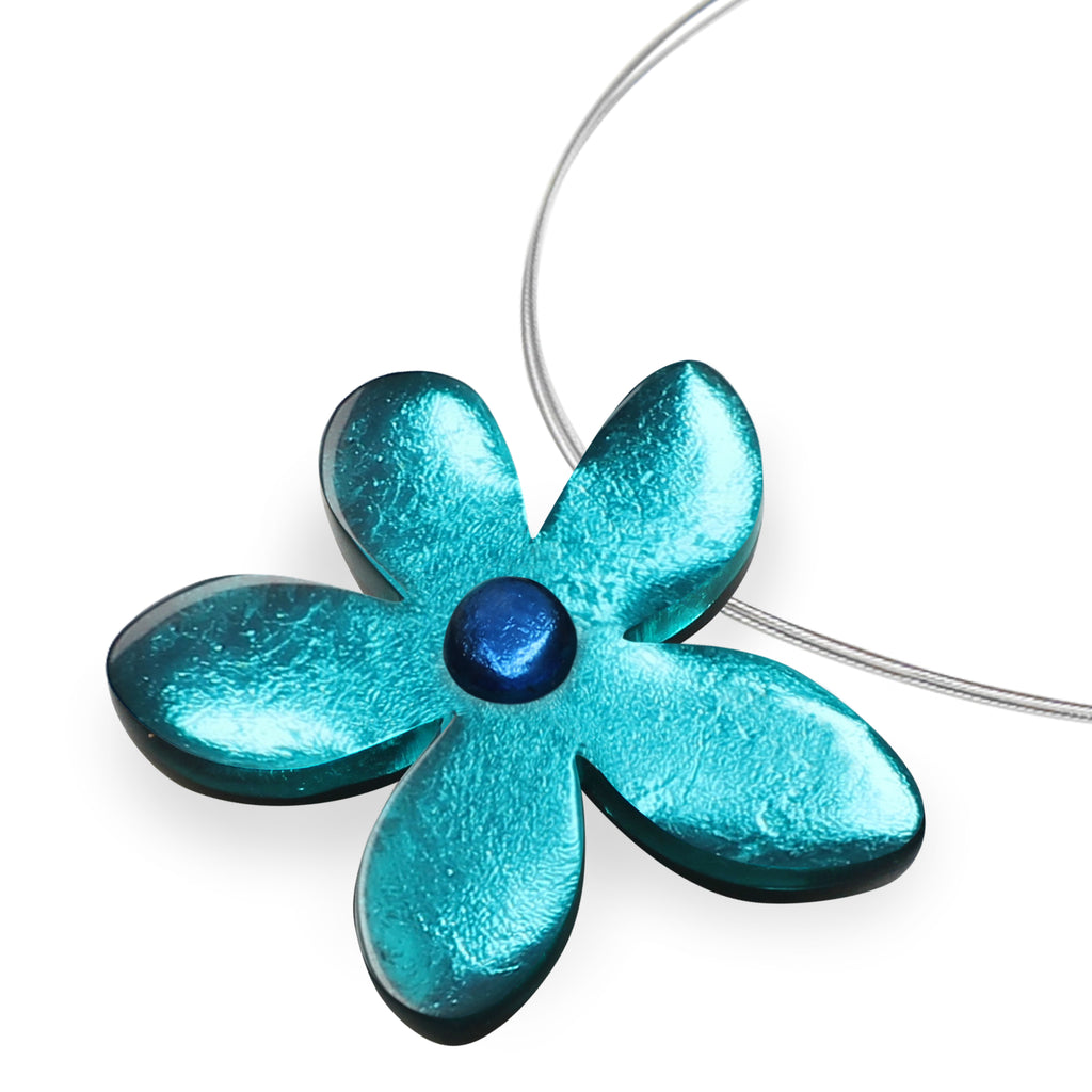 Turquoise Flower Resin Necklace