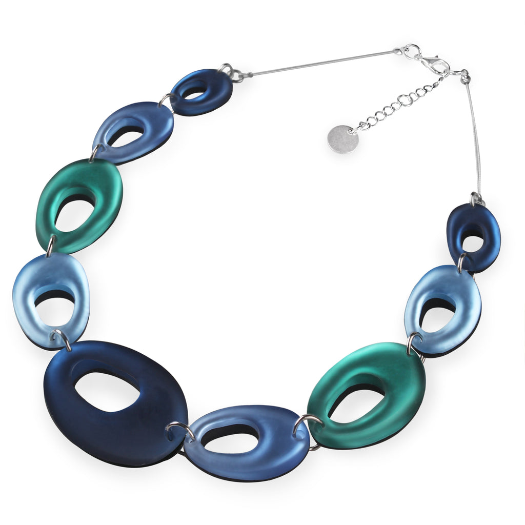 Blue/Teal Coloured Ovals Resin Necklace