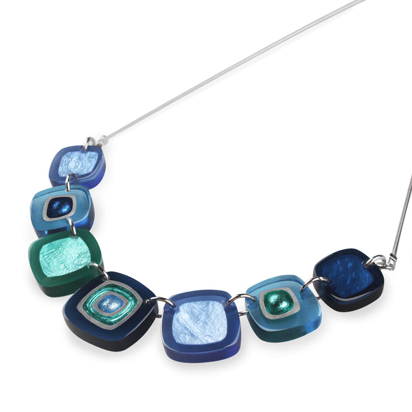Blue Coloured Resin Necklace