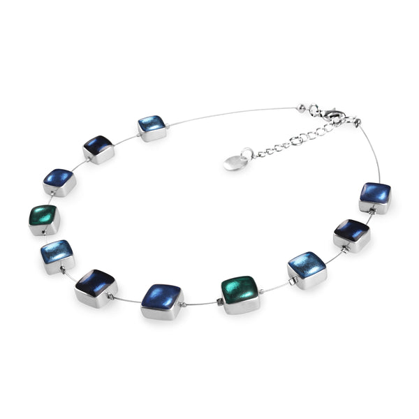 Blue/Teal Coloured Squares Resin Necklace