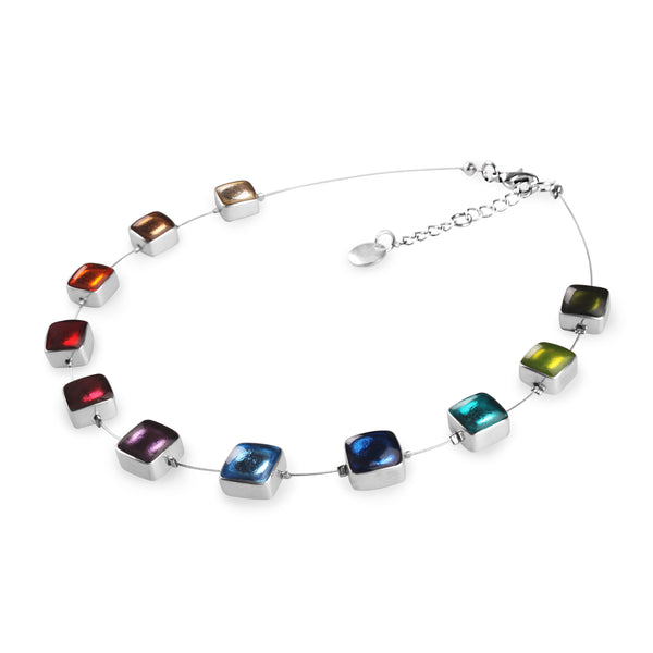 Multi Coloured Squares Resin Necklace