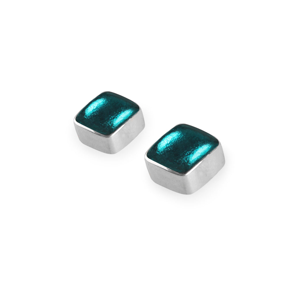 Turquoise Squares Resin Earrings