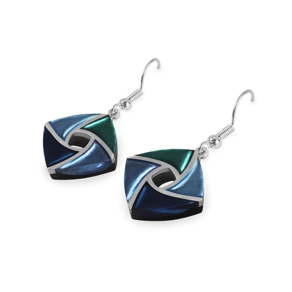 Blue & Green Coloured Resin Earrings