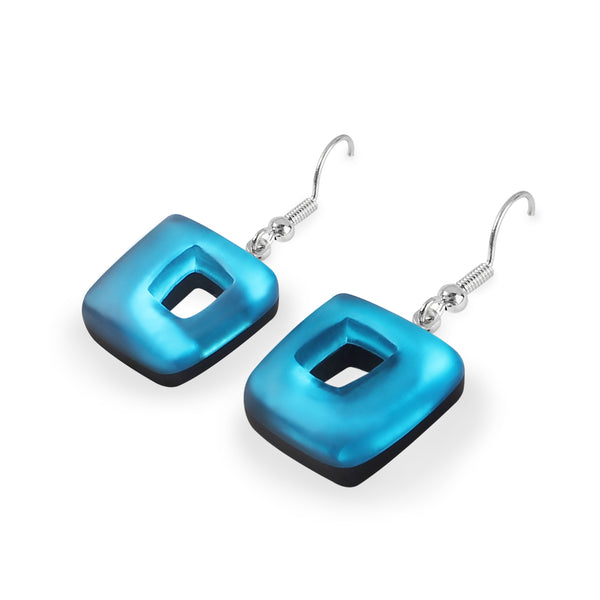 Blue Coloured Resin Earrings