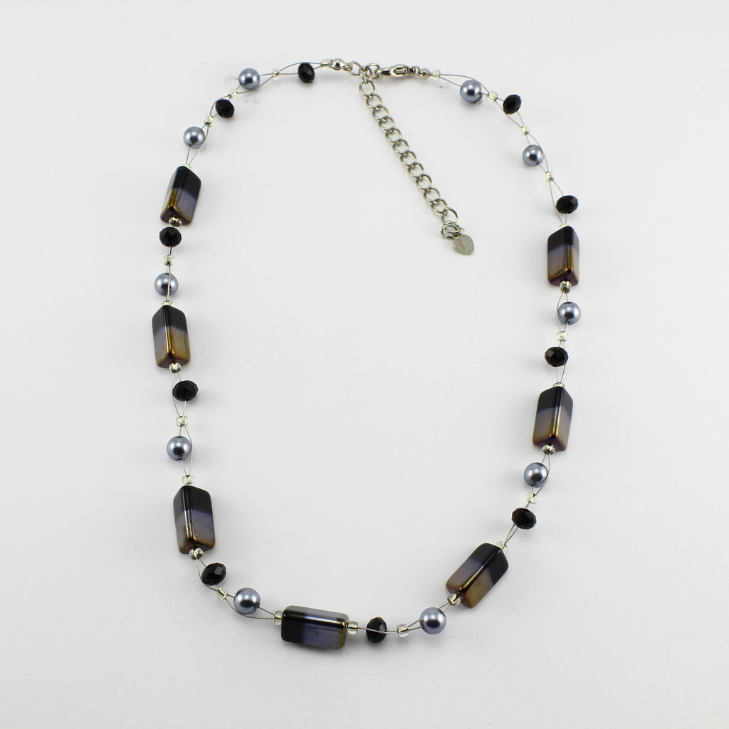 SWN0043BK - PIPPA - Black/Gold Rectangle Glass Crystal Necklace