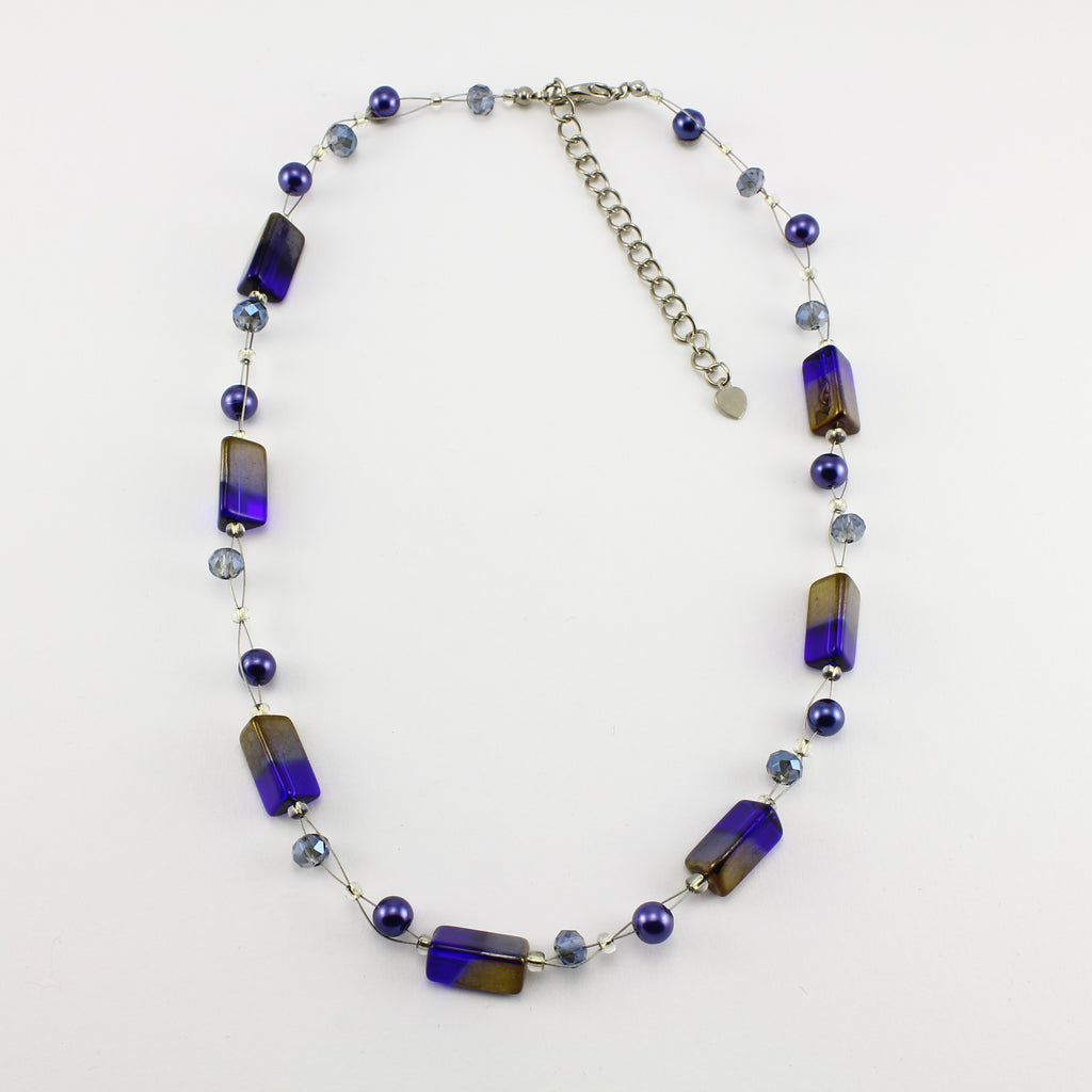 SWN0043BL - PIPPA - Navy/Gold Rectangle Glass Crystal Necklace
