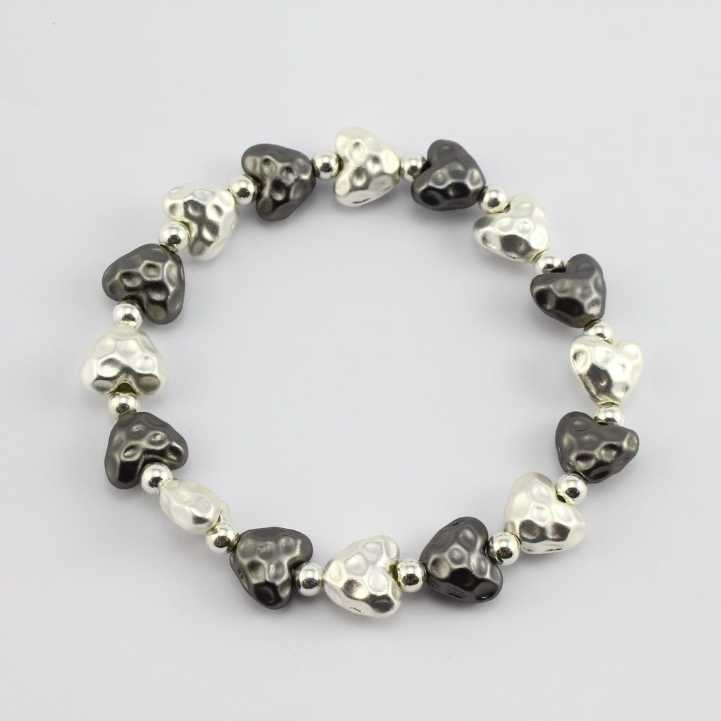 SWB002 - Fashion Rhodium Plated Bracelet - Silver, Grey Brushed Metal