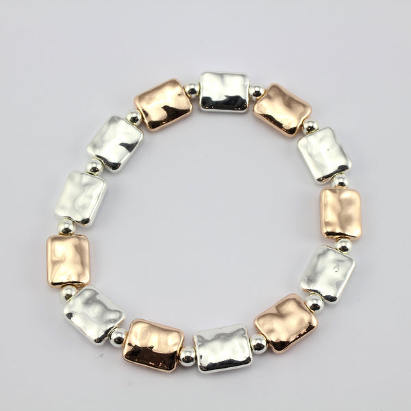 SWB003 - Fashion Rhodium Plated Bracelet - Silver, Rose Gold