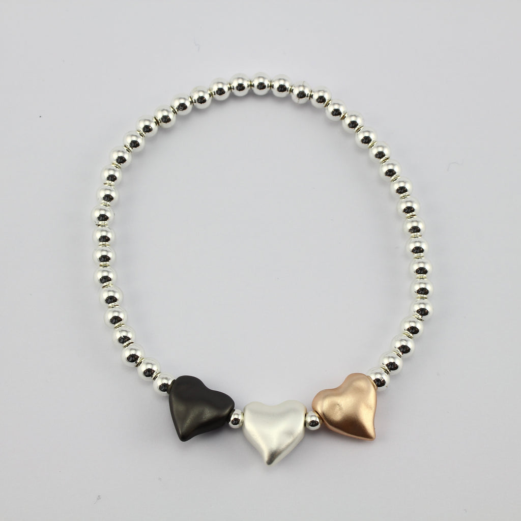 SWB005 - Fashion Rhodium Plated Bracelet - Silver, Rose Gold, Grey Hearts