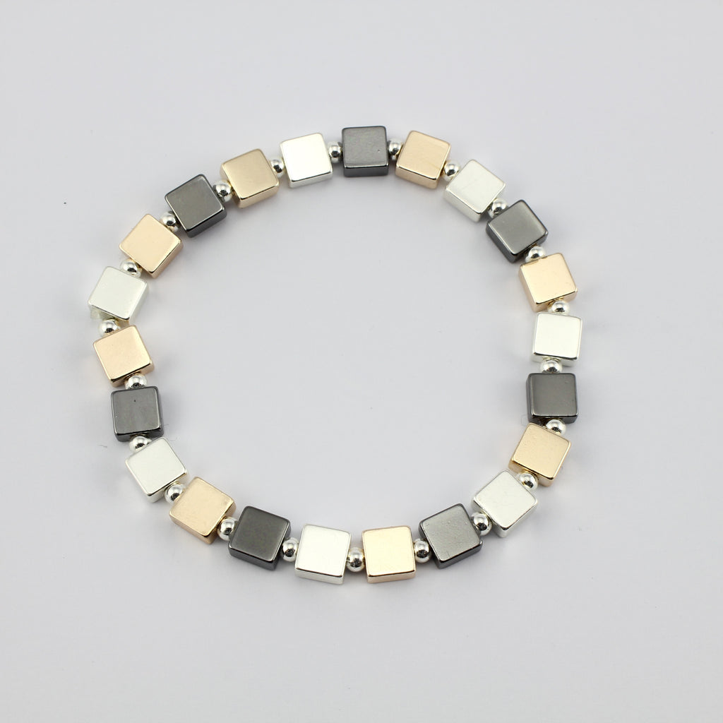 SWB009 - Fashion Rhodium Plated Bracelet - Silver, Grey, Rose Gold