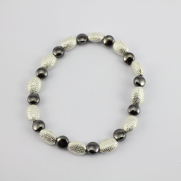 SWB013 - Fashion Rhodium Plated Bracelet - Silver, Grey Bead
