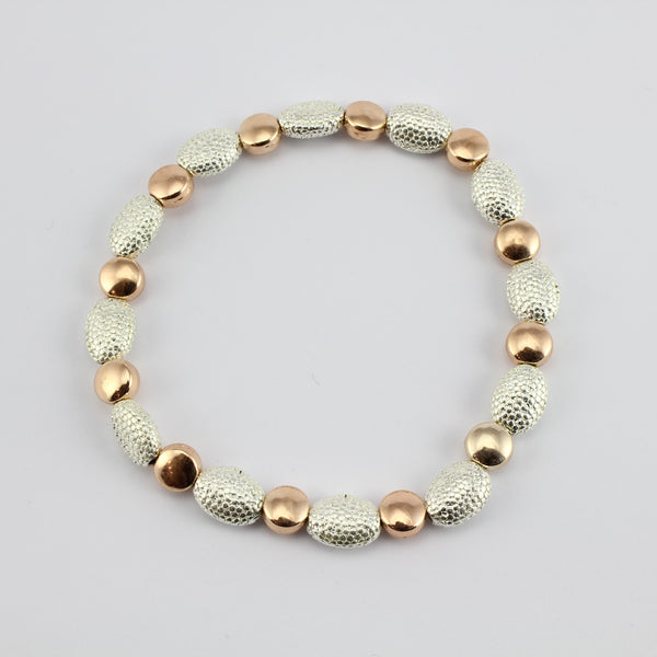 SWB014 - Fashion Rhodium Plated Bracelet - Silver, Rose Gold Beads