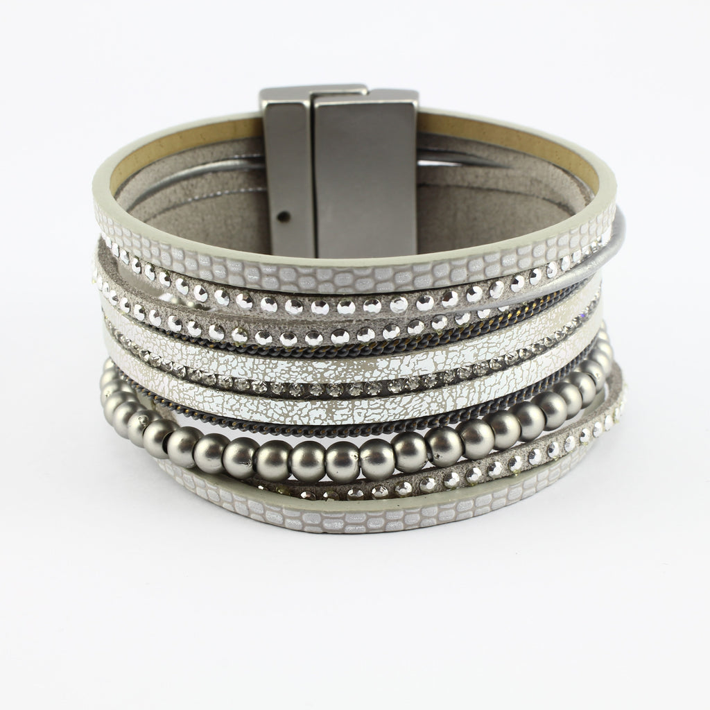 SWB021 - Fashion Faux Leather Bracelet - Silver,Grey