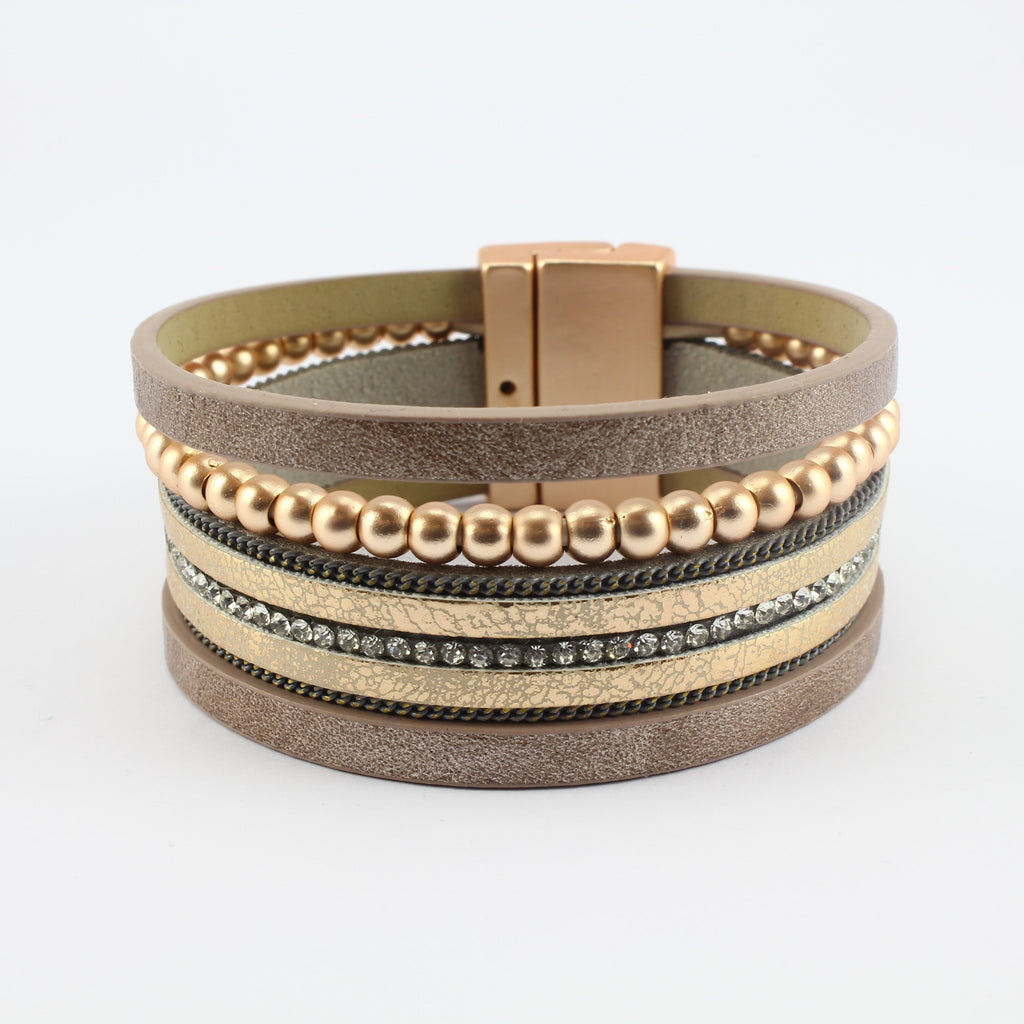 SWB026 - Fashion Faux Leather Bracelet - Brown, Rose Gold