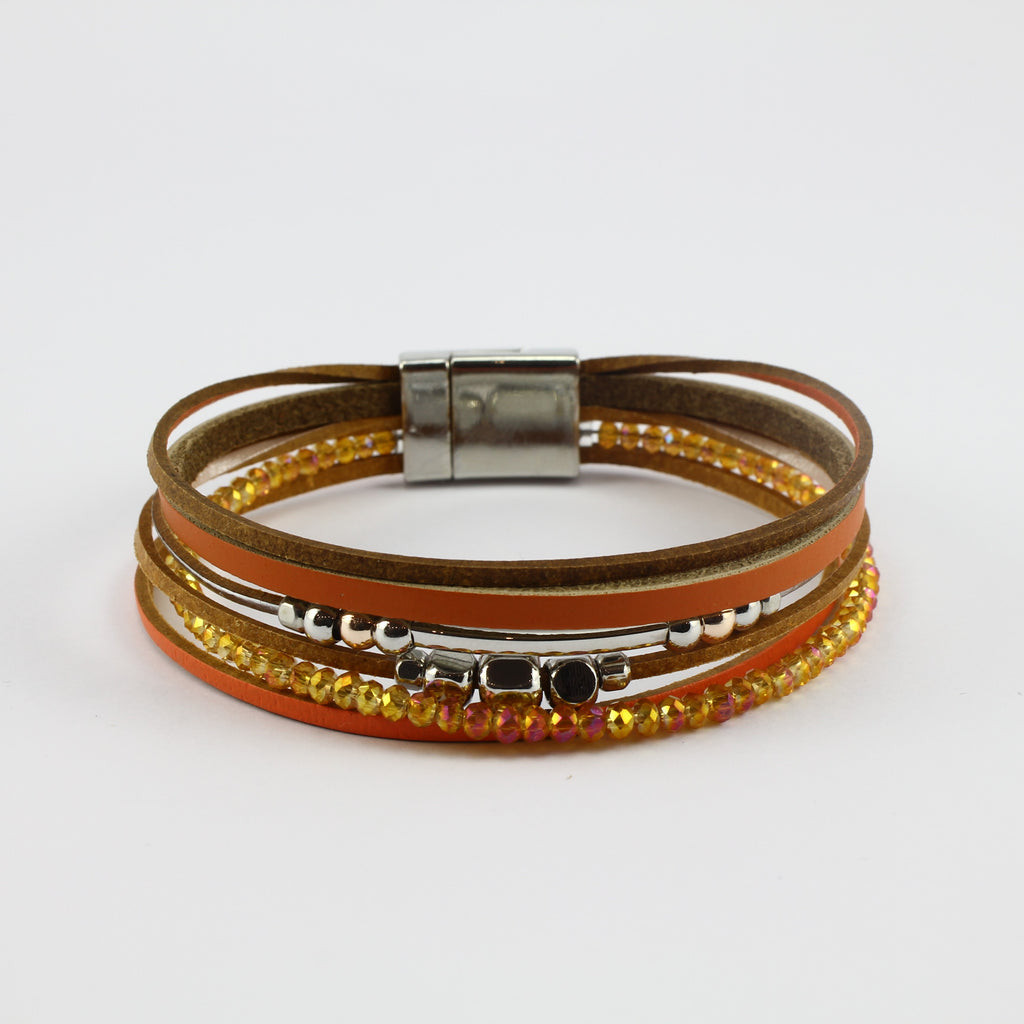 SWB033 - Fashion Faux Leather Bracelet - Orange, Silver