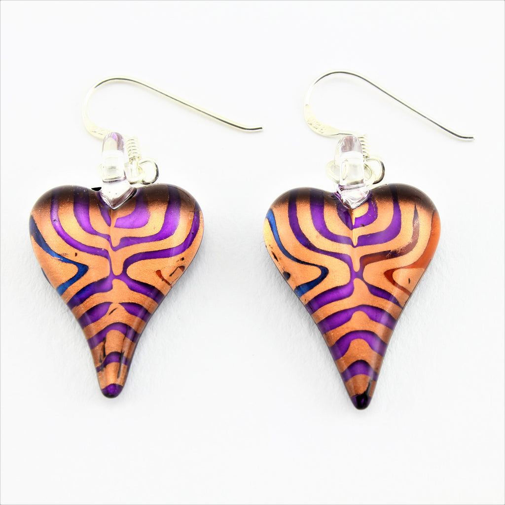 SWE573 - Multi Coloured Glass Heart Earrings