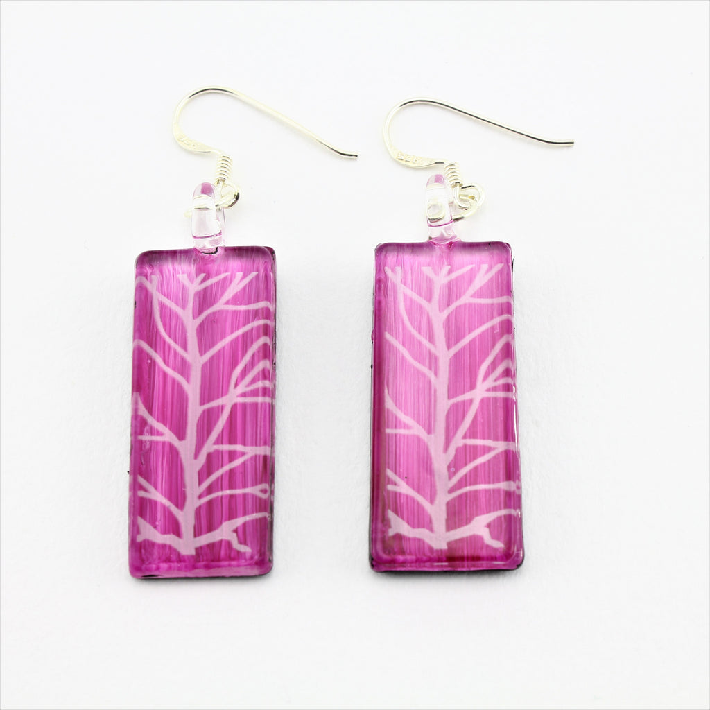 SWE577 - Rectangle Pink Tree Of Life Glass Earrings