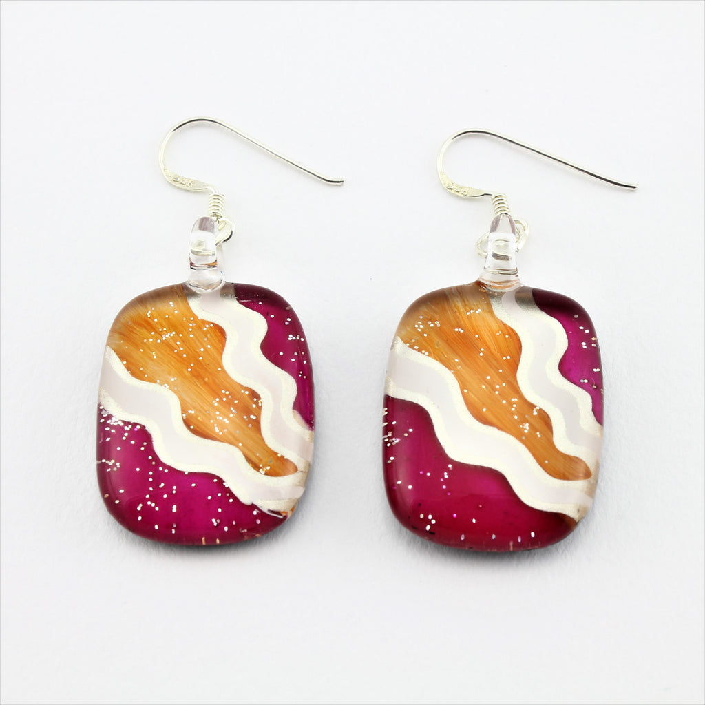 SWE580 Multi Coloured Oval Glass Heart Earrings