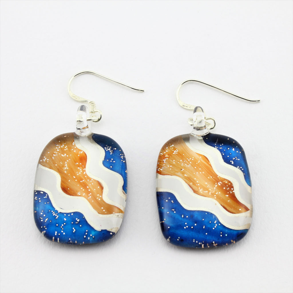 SWE581 - Multi Coloured Oval Glass Earrings