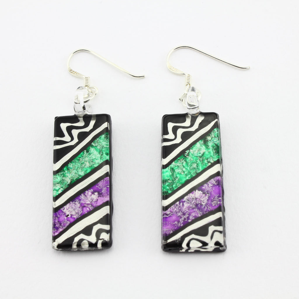 SWE583 - Rectangle Multi Coloured Glass Earrings