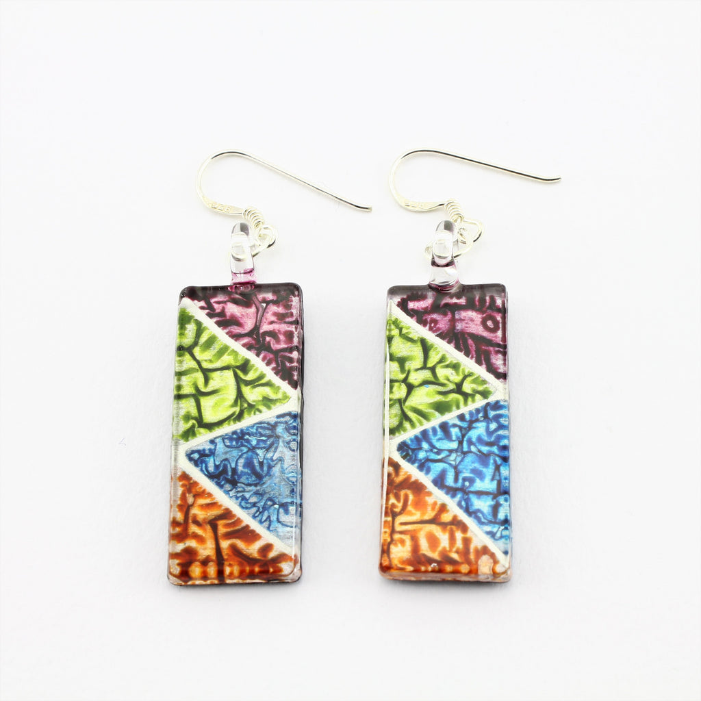SWE587 - Rectangle Multi Coloured Glass Earrings