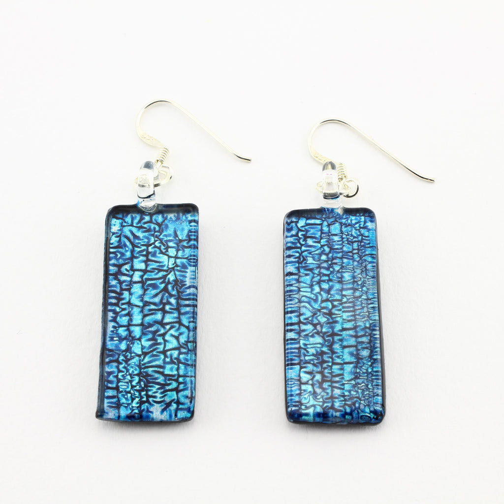 SWE588 - Rectangle Blue Glass Earrings