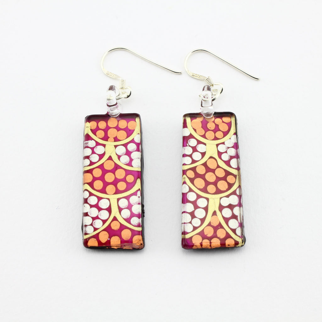SWE591 - Pink Dotty Rectangle Glass Earrings