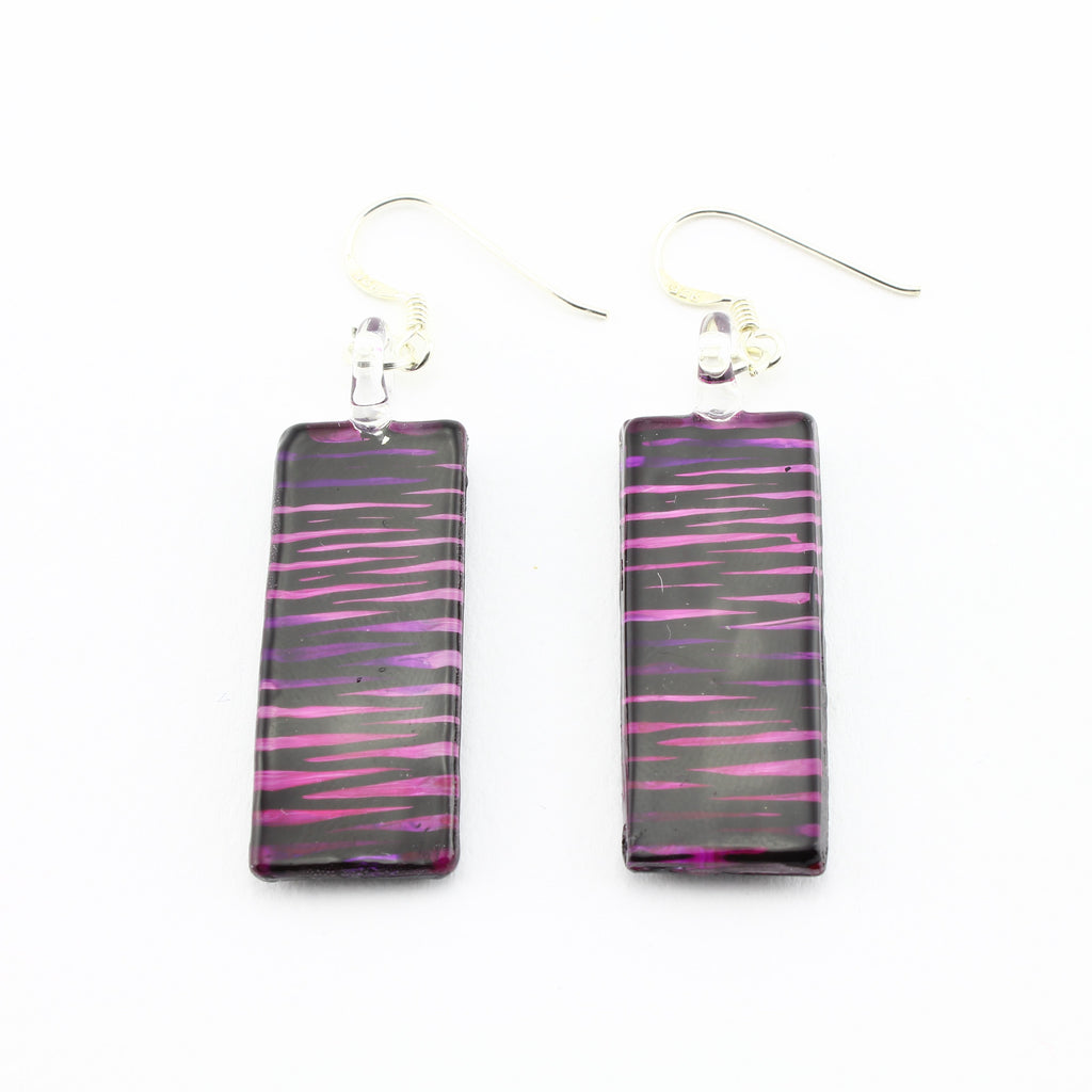 SWE593 - Purple Striped Rectangle Glass Earrings