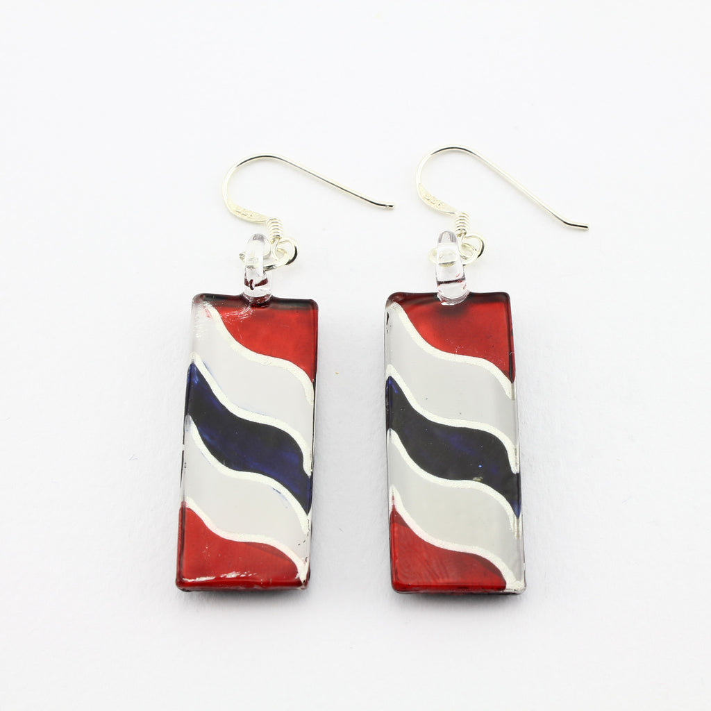 SWE594 - Red,White And Blue Rectangle Glass Earrings