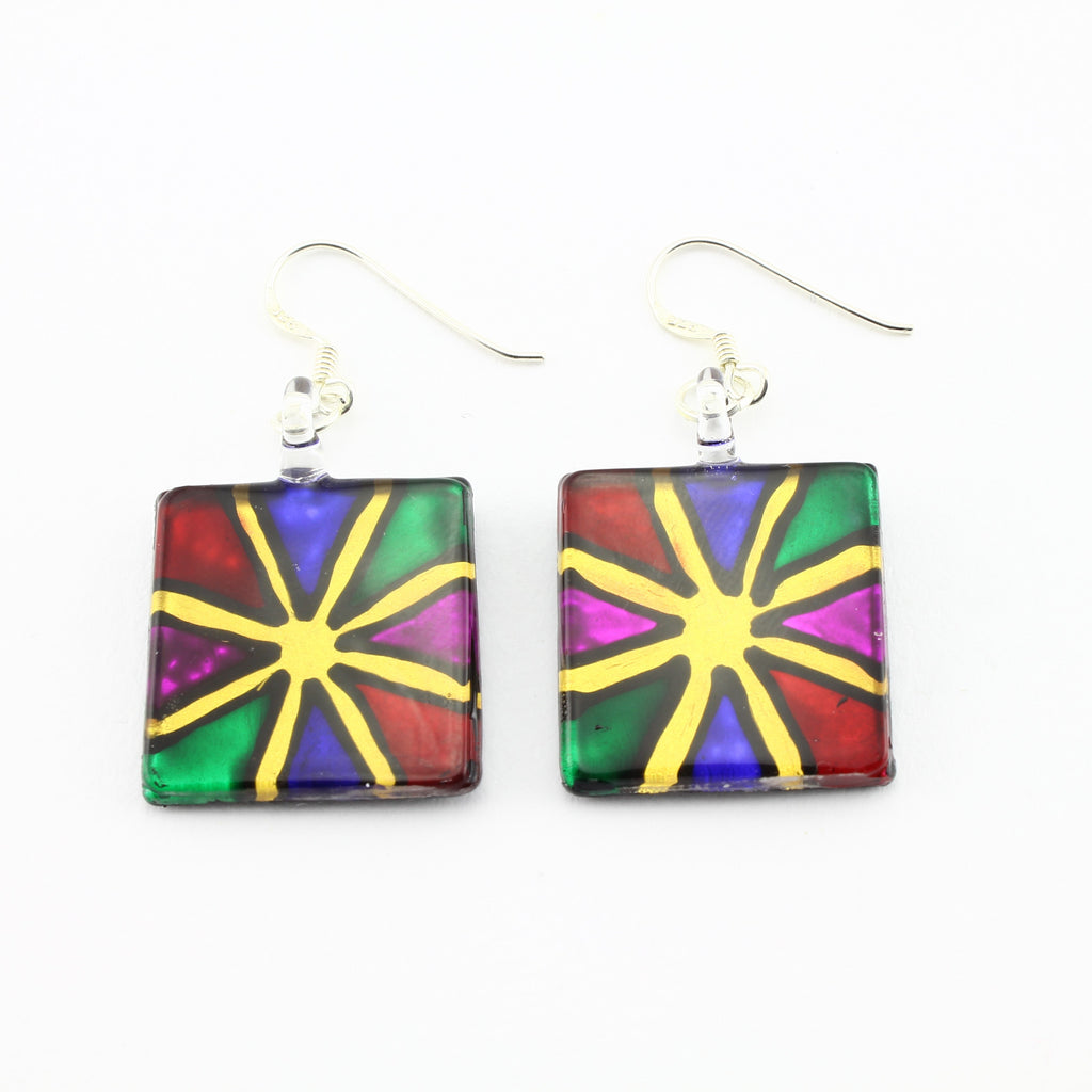 SWE596 - Square Multi Coloured Glass Earrings