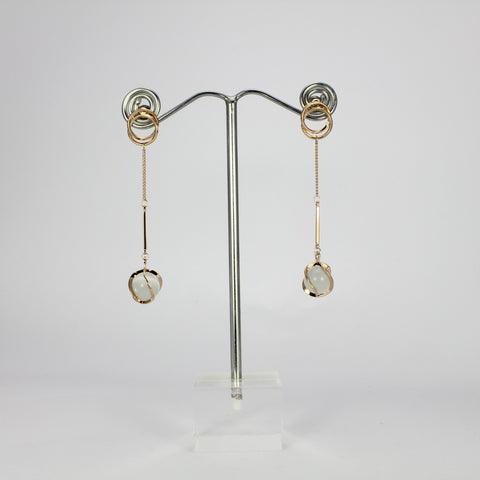 SWEG002 - Stud Clasp Fashion Earring - Rose Gold Rhodium Plate with Frosted Glass ball