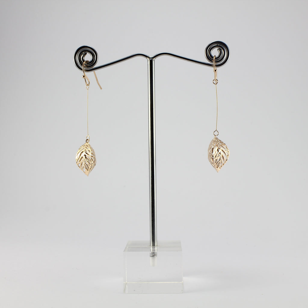 SWEG004 -  Fashion Earring - Rose Gold Leaf  with Hook Clasp