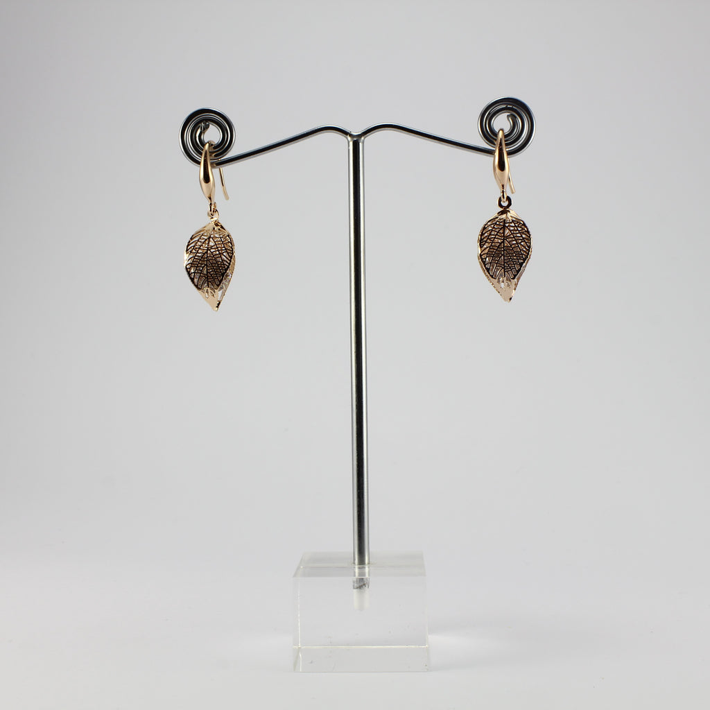 SWEG006 -  Fashion Earring - Rose Gold Leaf  with Hook Clasp