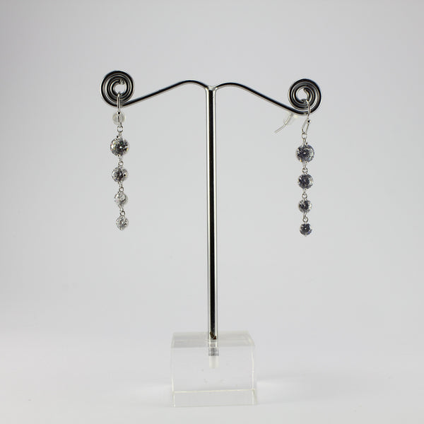 SWEG011 -  Fashion Earring - Silver Studs with Cut Glass Inserts with Hook Clasp