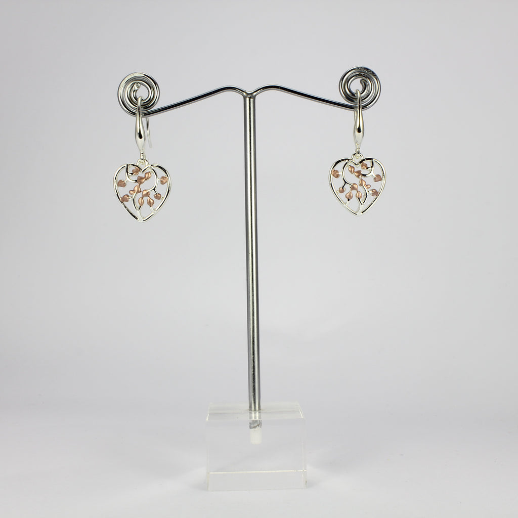 SWEG026 -  Fashion Earring - Silver, Rose Gold Hearts with Hook Clasp