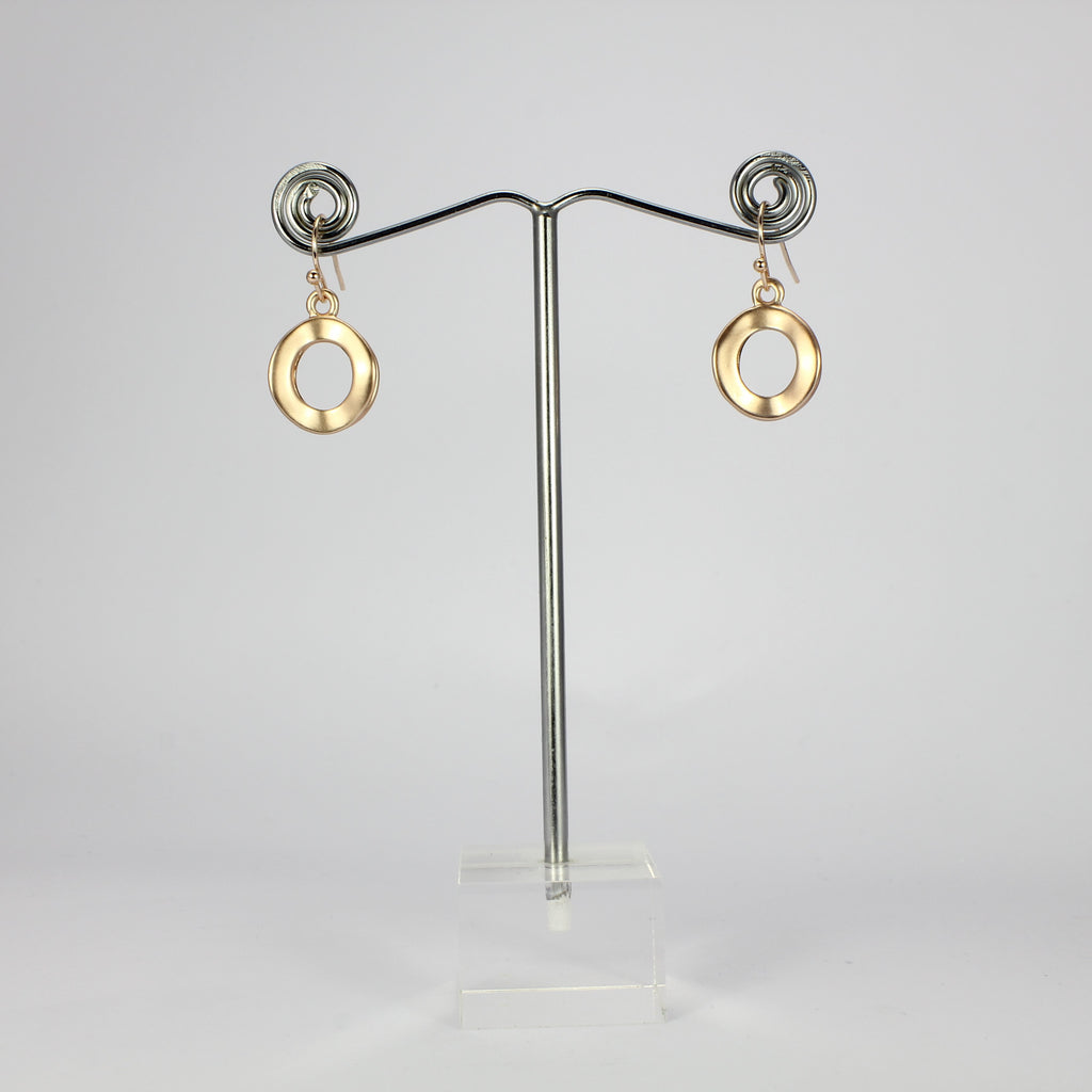SWEG031 -  Fashion Earring - Rose Gold Brushed Finish Hoops with Hook Clasp
