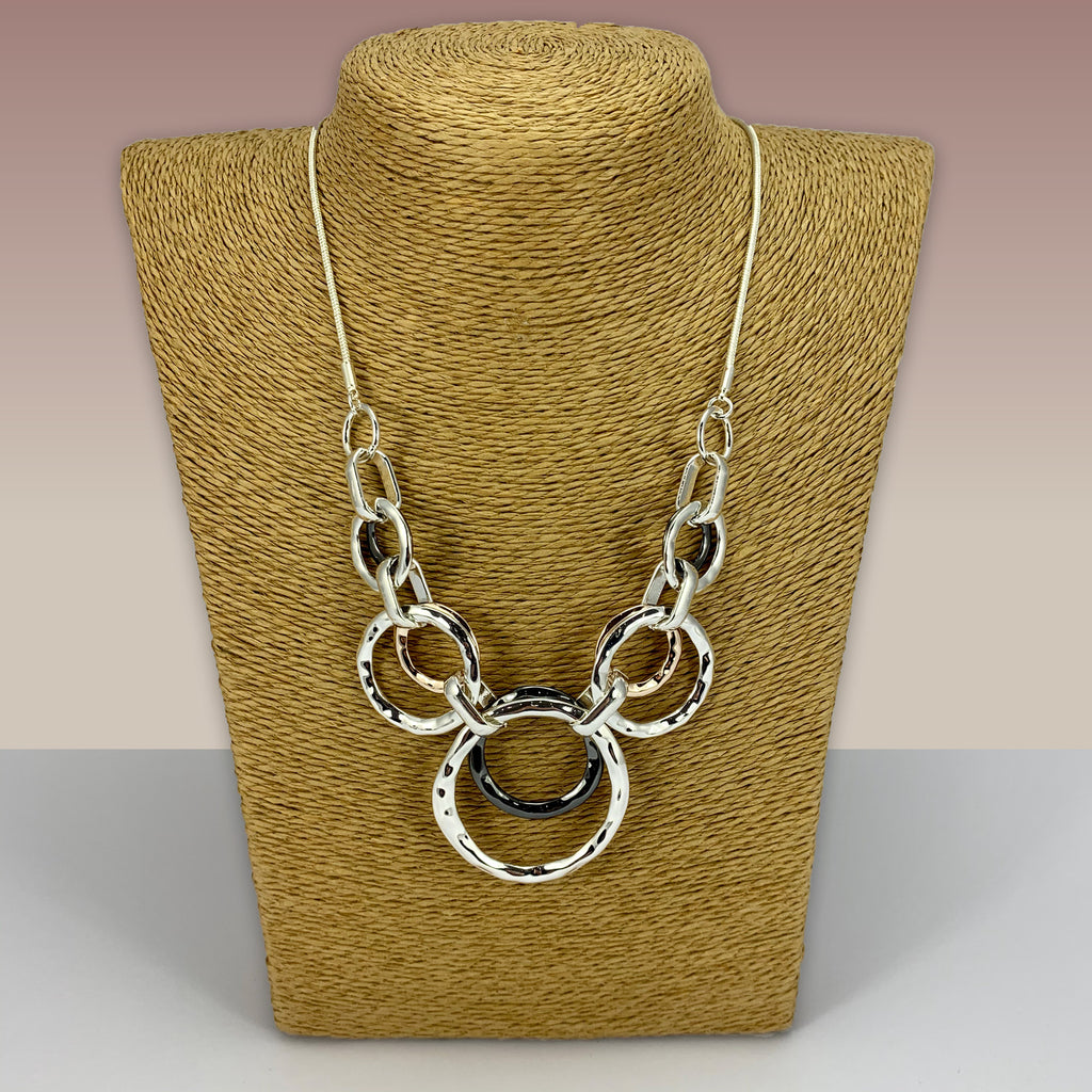 SWG003 - Fashion Rhodium Plated Necklace - Silver ,Grey, Rose Gold Hoops