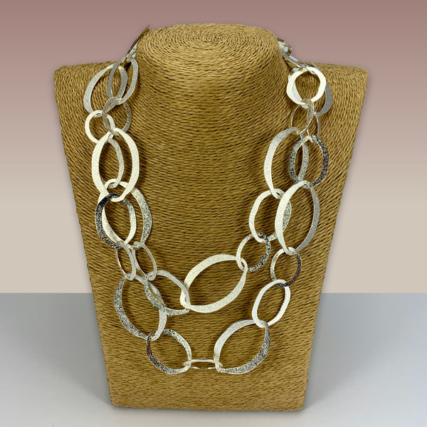 SWG011 - Fashion Rhodium Plated Necklace -  Silver Oval Hoops