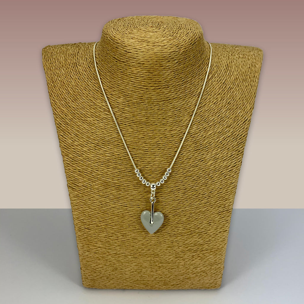 SWG013 - Fashion Rhodium Plated Necklace -  Silver With Grey Heart