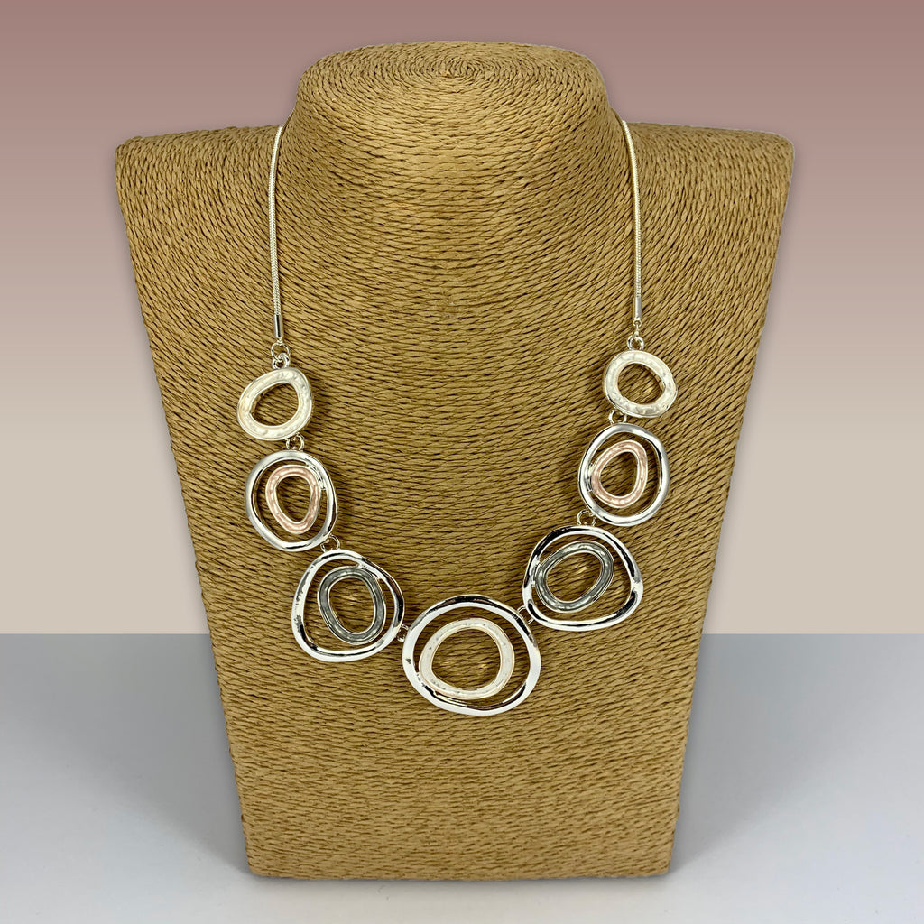 SWG016 - Fashion Rhodium Plated Necklace -  Silver, Gold, Grey Enamel Painted Hoops