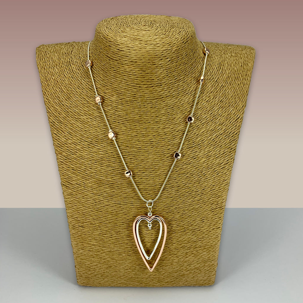 SWG026 - Fashion Rhodium Plated Necklace - Silver, Rose Gold Hearts