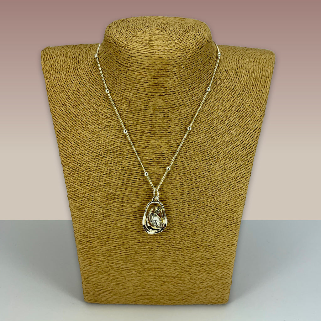 SWG030 - Fashion Rhodium Plated Necklace - Silver, Gold Glass Stone