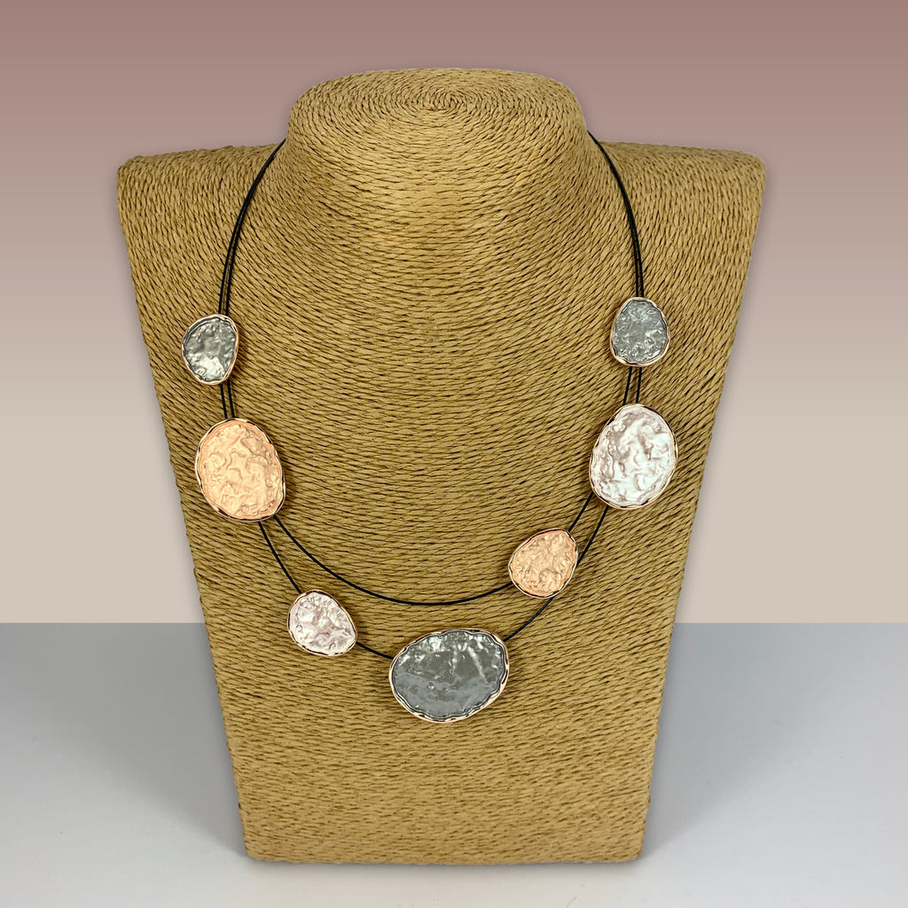 SWG041 - Fashion Rhodium Plated Necklace - Grey, Rose Gold Enamel Painted Discs