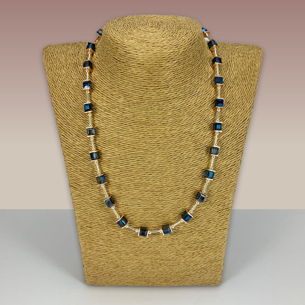 SWG042 - Fashion Rhodium Plated Necklace - Blue Glass Squares