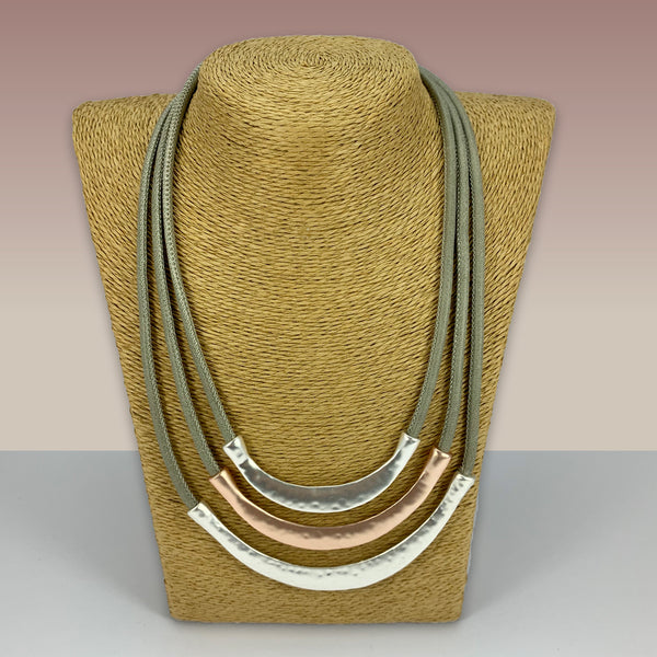 SWG052 - Fashion Rhodium Plated Necklace - Silver, Rose Gold Brushed Curves